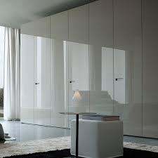 wonderful modern white wardrobe design idea with white curtain