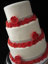 white wedding cake red roses with rhinestones lexington kentucky