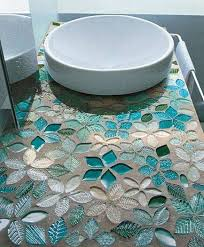 make a gorgeous bathroom vanity top from mosaic glass tiles