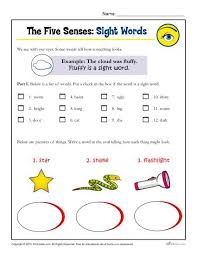 five senses activity for kindergarten and 1st grade sight