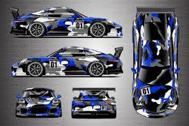 blue camo lamborghini porsche racing livery camo wrap covert ki studios