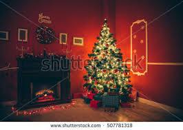 beautiful christmas living room decorated christmas stock photo