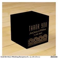 gold art deco wedding reception guest favor box wedding favors