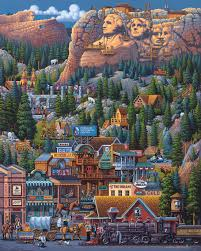 halloween jigsaw puzzles the black hills mt rushmore national memorial by folk artist