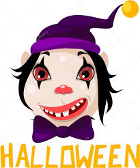 scary clown with smile and red eyes halloween u2014 stock vector