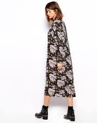 ganni maxi shirt dress in floral print lyst
