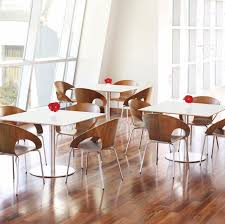 contemporary bistro table wooden square for public buildings