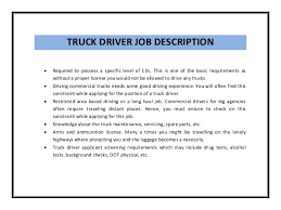 description for truck driver for resume 28 images truck driver