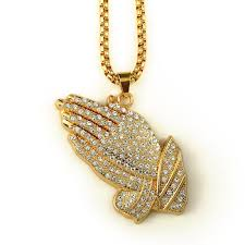praying necklace wholesale hip hop iced out praying 18k real gold plate box