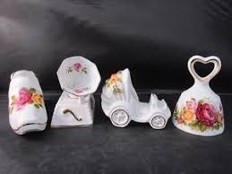 vintage cottage pattern shoe gramophone pram bell bone china