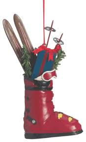 ski boot with gifts tree ornament traditional