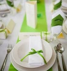 picture of lime green table runner napkins and ribbon bows