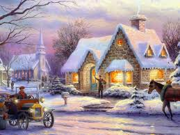 winter time ice tree house art christmas snow painting nature