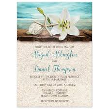 invitations beach lily seashells and sand