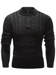black sweater with white collar stand collar half zip up cable knit sweater black sweaters