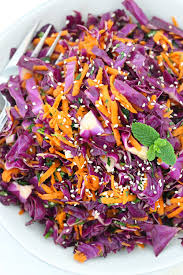 thai sesame red cabbage and carrot salad bowl of delicious