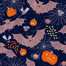 seamless pattern for a happy halloween with bats spiders pumpk