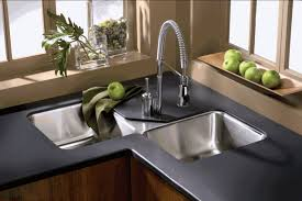 sinks faucets dark grey countertop base cabinet double bowl