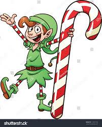 cute cartoon christmas elf holding candy stock vector 112572128