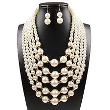 white pearl beaded necklace images Yuhuan women elegant jewelry set white pearl bead jpg