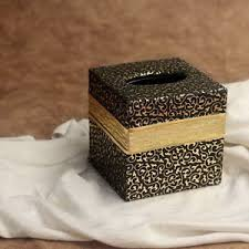 Leather Home Decor Black Gold Pu Leather Tissue Box Cover Square Paper Holder Home