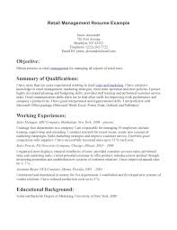 retail resume objective examples retail entry level sample