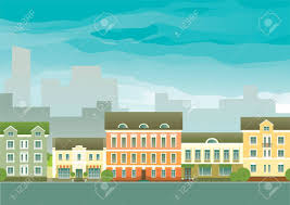 real estate background vector of houses on town street at
