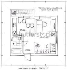 architectural hand drawn floor plan bedroom stock vector 386701177