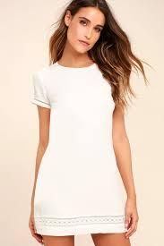 shift dress lovely white dress shift dress embroidered dress 49 00