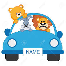 teal car clipart baby boy arrival announcement animals in a blue car royalty free