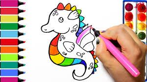 rainbow seahorse coloring page learn colors for girls and kids