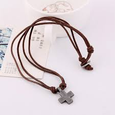 leather cord necklace mens images Cross pendant mens leather cord necklace ushoptwo png