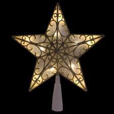 9 gold glitter led tree topper warm white lights