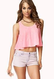 Nice Clothes For Womens Women U0027s Pink Flounced Slub Knit Crop Top Clothes Goals