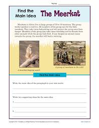 3rd or 4th grade main idea worksheet about the meerkat main idea