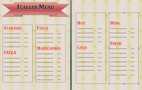 free blank menu template 4 italian menu template procedure template sle