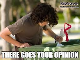 Meme Opinion - there goes your opinion funny sarcastic meme pmslweb