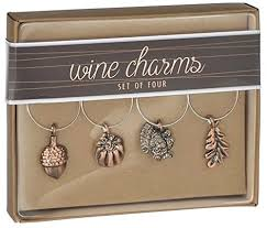 fall harvest thanksgiving wine glass charms set of 4 the home
