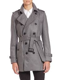 burberry kensington grey cashmere trench coat in gray for men lyst