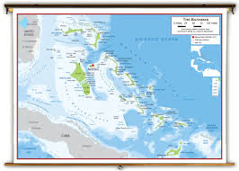 Physical Map Of North America by The Bahamas Physical Educational Wall Map From Academia Maps