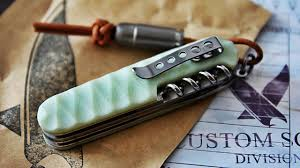 personalized swiss army knife victorinox pocketknife slimer custom made g10 scale aged