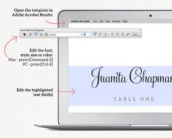 wedding place card template editable instant download diy