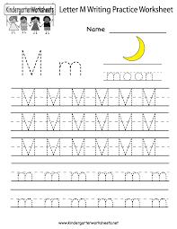 Letter Recognition Worksheets Kindergarten Letter M Writing Practice Worksheet Printable Kids