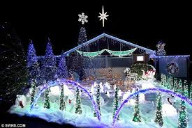 christmas light display to music near me bungalow ho ho how entertainer s garden light display flashes in