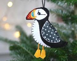 puffin ornament felt ornament felt bird