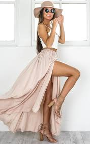 maxi skirt the twilight maxi skirt in beige showpo