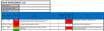 High Level Project Plan Excel Template Issue Log Free Project Issue Log Template In Excel