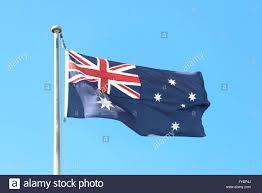 New South Wales Flag Australian Flag Flying On Flagpole Sydney Kingsford Smith Airport