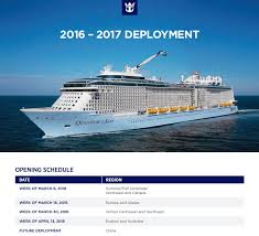 royal caribbean 2016 2017 deployment opening schedule dates royal