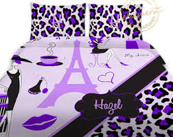 Cheetah Twin Comforter Purple Bedding Etsy